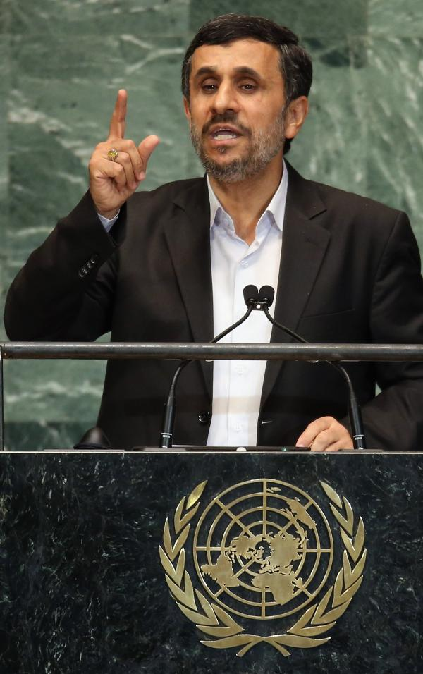 Iranian President Mahmoud Ahmadinejad during his address today at the U.N.