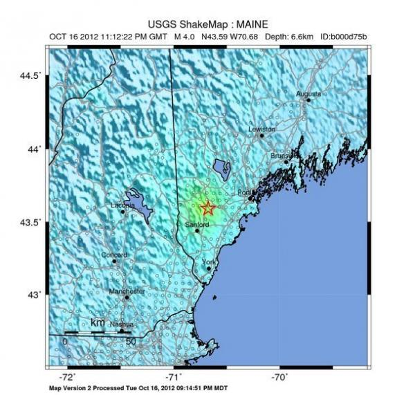 A map from the USGS. The yellow represents the areas that felt the earthquake the most.