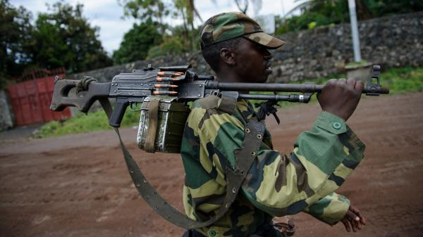 A M23 rebel in the streets of Goma.