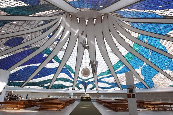 The interior of Brasilia Cathedral.
