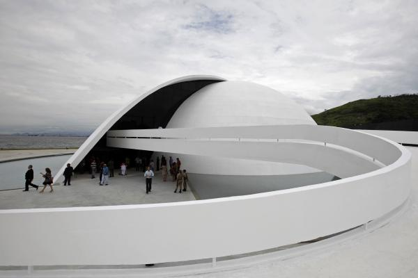 The inauguration of the Oscar Niemeyer foundation building in Niteroi, Brazil, 2010.