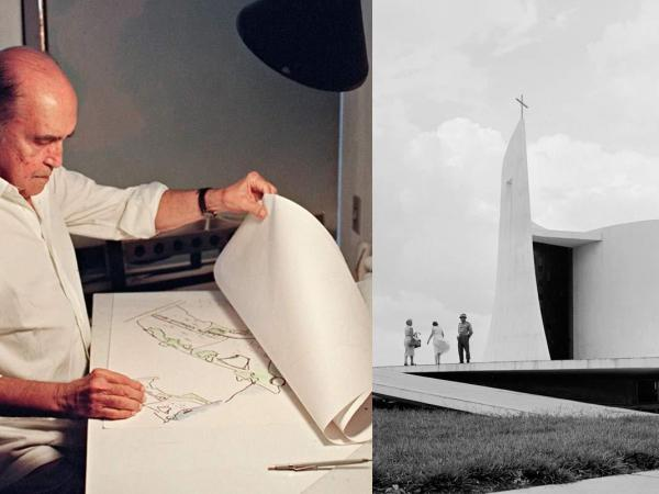 A composite image shows architect Oscar Niemeyer in 1992 (left), and one of his buildings photographed circa 1955.