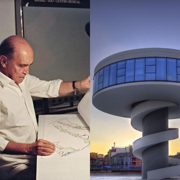 Oscar Niemeyer in 1992 (left) and Niemeyer Center in Aviles, Spain, 2011