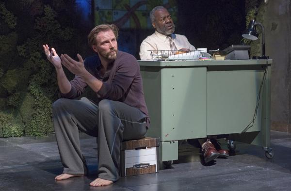 Quiara Alegria Hudes' Pulitzer Prize-winning drama, <em>Water by the Spoonful,</em> opens off-Broadway on Tuesday. Above, Bill Heck as Fountainhead and Frankie R. Faison as Chutes & Ladders in the play, directed by Davis McCallum.