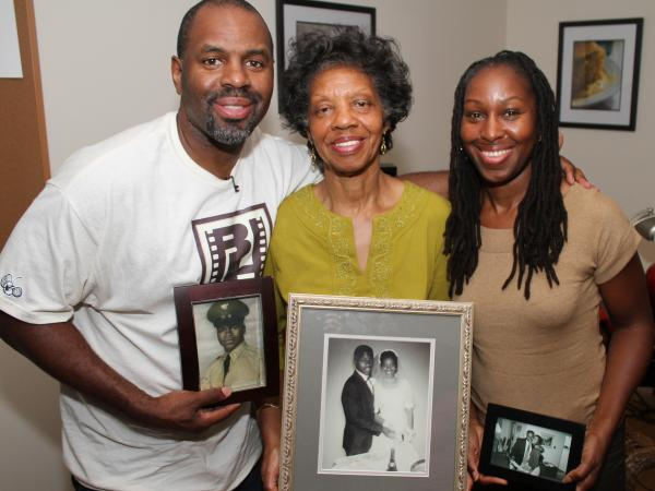 Filmmaker Byron Hurt's documentary was inspired in part by the death of his father. He's shown with his mother, Frances Hurt (center), and sister, Taundra Hurt.