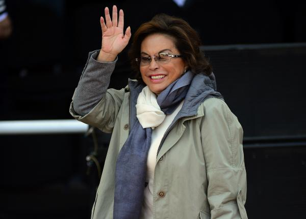 Elba Esther Gordillo waves during the ceremony of the National Police Day in Mexico City, on June 2, 2012.