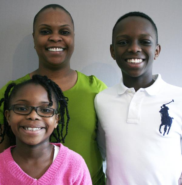 Talana and Willie with their mother, Felicia Banks, who served in Iraq in 2005.
