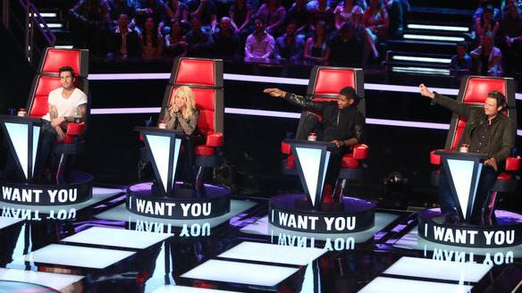 Adam Levine, Shakira, Usher, and Blake Shelton make up the adjusted judging panel on NBC's <em>The Voice</em>.