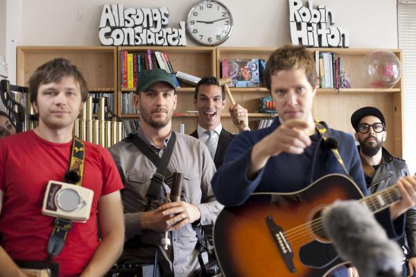 Who's that in the back waving a mallet? If you guessed NPR White House Correspondent Ari Shapiro, you're right. Standing with Shapiro (center) are band-mates Andy Ross (left), Dan Konopka, Damian Kulash and Tim Nordwind.