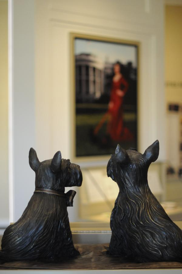 Statues of Barney and Miss Beazley, the beloved Scottish terriers of President George W. and Laura Bush, are seen in the museum area at the George W. Bush Presidential Library and Museum in Dallas.