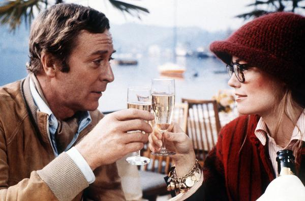 Caine and Cybill Shepherd during the filming of <em>Silver Bears</em> in 1978.