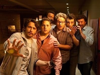 James Franco (from left), Jonah Hill, Craig Robinson, Seth Rogen, Jay Baruchel and Danny McBride all play versions of themselves in the post-apocalyptic comedy <em>This Is the End,</em> written by Rogen and his writing partner Evan Goldberg.