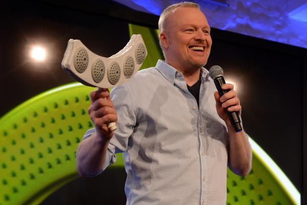 Stefan Raab presents his new product during a press conference in Cologne, Germany.