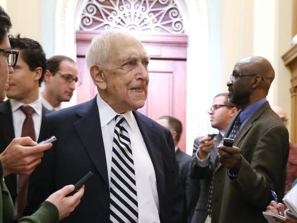 Sen. Frank Lautenberg speaks to members of the press in January.