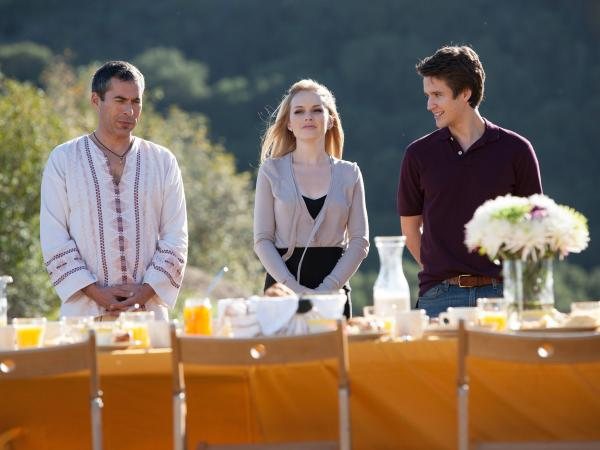 Charles Fathy, Kelly Curran and Devon Werkheiser star in <em>Deadly Spa </em>as Caftan Charlie, Blonde Henchlady, and Doomed F. Simpleton.