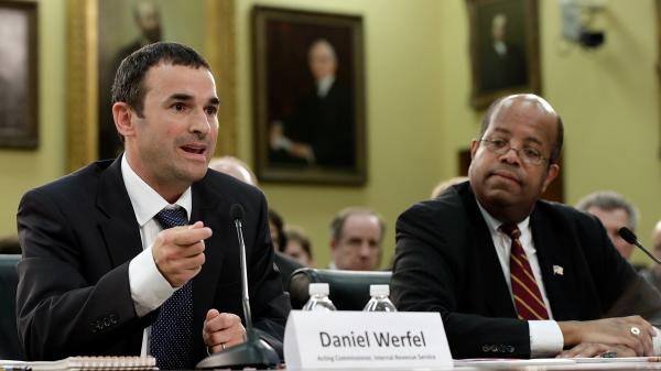 Acting IRS Commissioner Danny Werfel, left, testifies before the House Financial and General Government subcommittee, alongside Treasury Inspector General for Tax Administration J. Russell George.