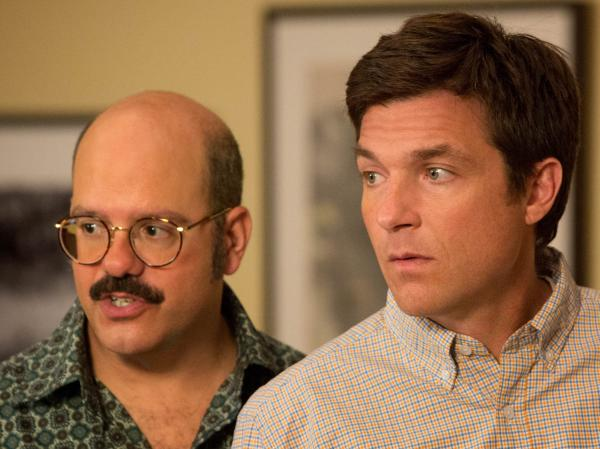 David Cross (left) reprises his role as Dr. Tobias Funke, the sexually ambiguous brother-in-law of Jason Bateman's character, Michael Bluth, in Netflix's new season of <em>Arrested Development.</em>