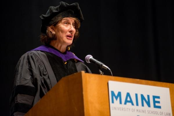 Mara Liasson addresses graduates at the University of Maine School of Law.