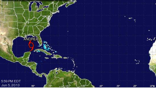 The National Hurricane Center is tracking Tropical Storm Andrea, currently in the eastern Gulf of Mexico, on its website.