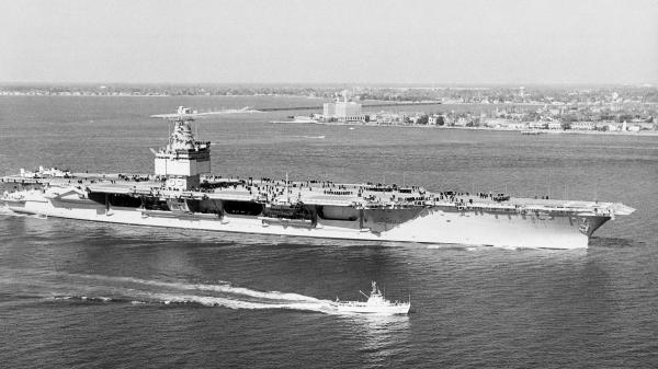 The USS Enterprise, the world's first nuclear-powered aircraft carrier, travels for performance trials in Norfolk, Va., in 1961.