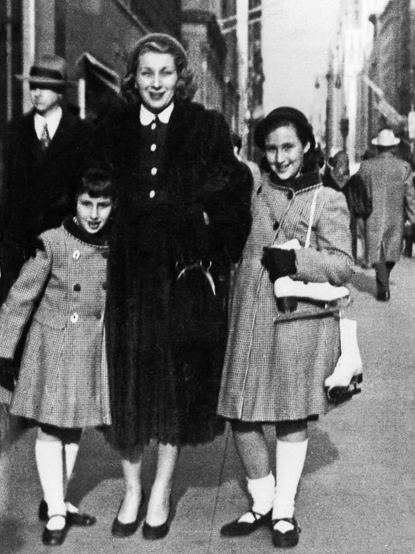 Patricia Volk (left) poses with her mother, Audrey, and her sister, Jo Ann, outside Rockefeller Center in New York.