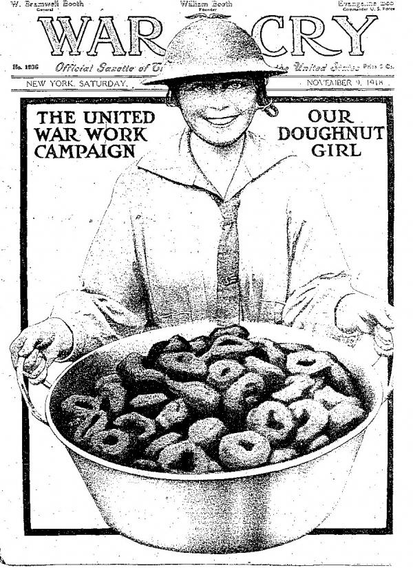 "The cover of the Salvation Army's <em>War Cry</em> magazine from 1918 commemorates the ""Doughnut Girl."""