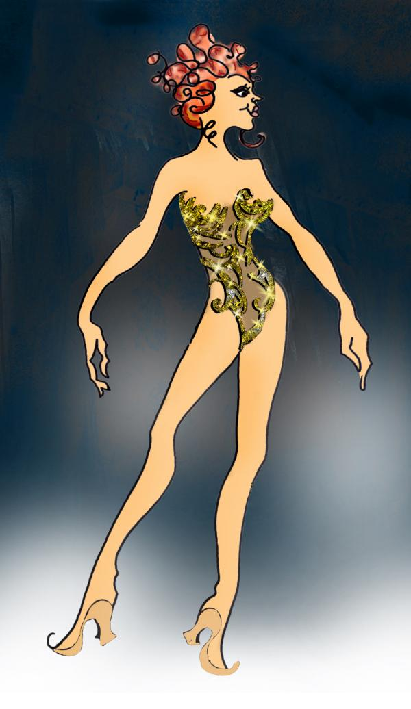 For <em>Pippin,</em> designer Dominique Lemieux imagined this costume for the character of Fastrada ...
