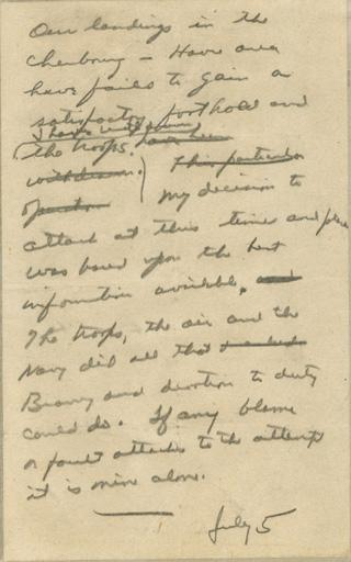Gen. Dwight D. Eisenhower wrote this speech on June 5, 1944, to deliver in case the invasion failed. According to the Dwight D. Eisenhower Presidential Library, the president mistakenly dated the message July 5 instead of June 5.