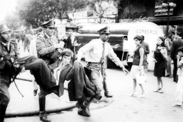 Police arrest a man in Montevideo, Uruguay, during a protest. (Archival photo by Aurelio Gonzalez)