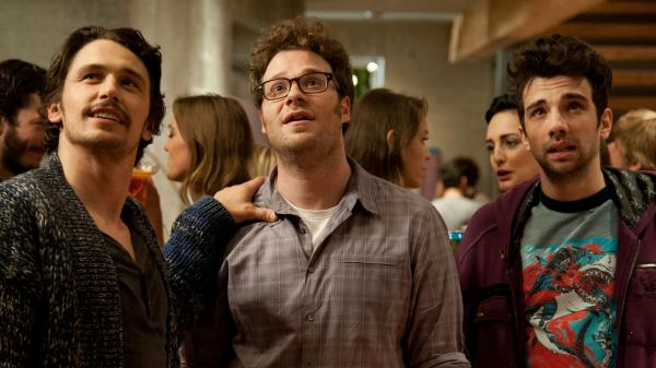 James Franco (left), Seth Rogen and Jay Baruchel are all playing themselves in Rogen's apocalypse comedy <em>This Is the End</em>.