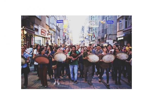 Drummers lead a crowd of demonstrators along Istiklal Street. (Posted June 4)