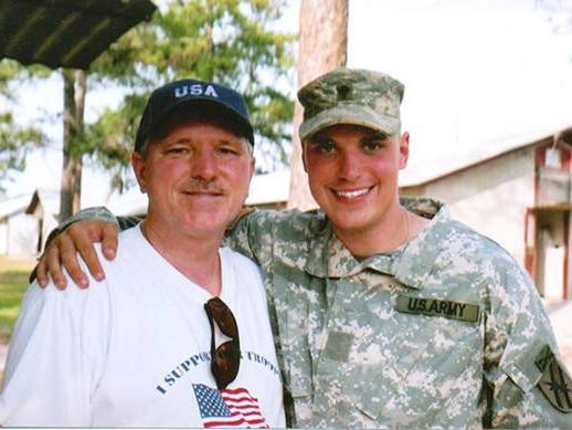Robert Stokely and his son, Michael, who died on deployment in Iraq in 2005.