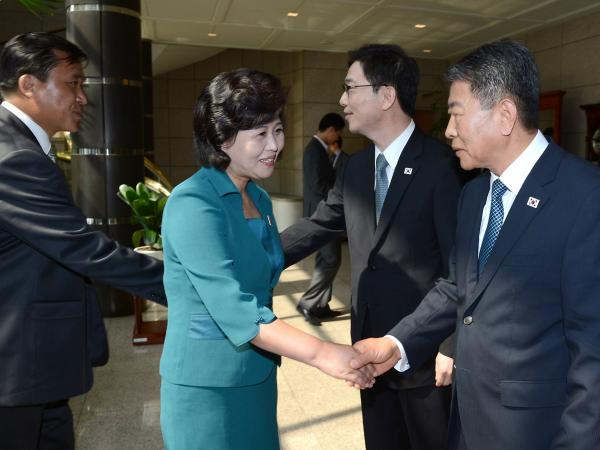 The North and South Korean delegations meet at the border village of Panmunjom last week. The talks quickly fell apart.