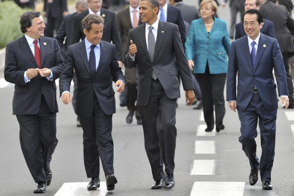It wasn't always so informal. In 2011, European Commission President Jose Manuel Barroso, French President Nicolas Sarkozy, President Obama and Japanese Prime Minister Naoto Kan walk together, in suits and ties, no less, after a meeting at the G-8 summit in Deauville, France.