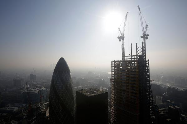 "London's 122 Leadenhall Street (nicknamed the ""Cheese-Grater"") is shown under construction on March 5. Once complete it will be London's second-tallest building. The recent construction of numerous skyscrapers has sparked concern that views of historic landmark buildings, such as St Paul's Cathedral, are being obscured."