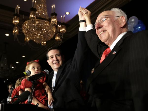 Ted Cruz celebrates his victory in the Texas Senate race with his father, Rafael, and daughter Caroline on Nov. 6, 2012, in Houston.