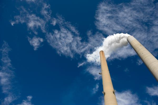 The smoke stacks at American Electric Power's Mountaineer coal power plant in New Haven, W.Va.
