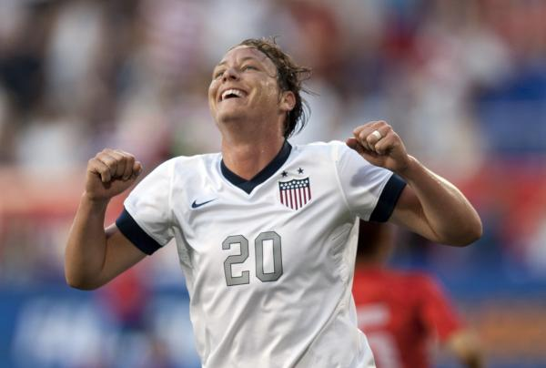Abby Wambach of the United States reacts during her match against South Korea Thursday at Red Bull Stadium in Harrison, N.J.