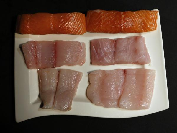 (From top) Oceana paired wild salmon, red snapper and halibut, all on the left, with other fish that look remarkably similar to demonstrate how easy it would be to mislabel them.