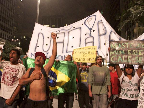 Students from the eastern city of Sao Paulo protest on Friday.