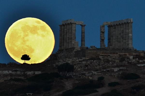 The ancient Greek temple of Poseidon at Cape Sounion, south of Athens, June 23