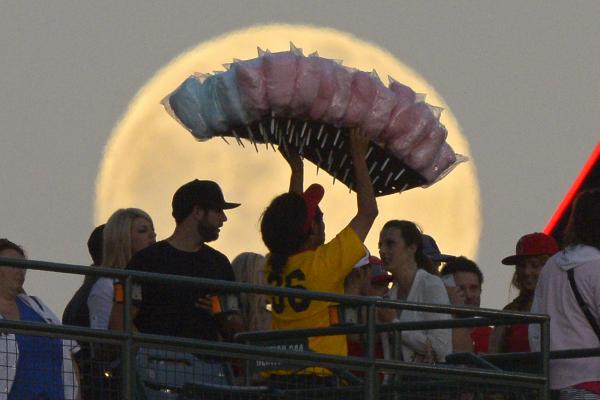 A cotton candy vendor at a Los Angeles Angels baseball game against the Pittsburgh Pirates, Anaheim, Calif., June 22