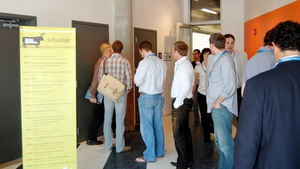 "A long line for a men's room at a 2009 tech conference in Omaha, Neb. Photos of this situation have now inspired <a href=""https://twitter.com/WomenInLine"">a Twitter feed</a>."