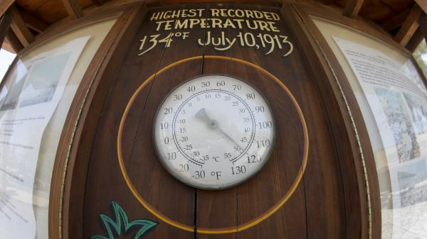 The thermometer at the Furnace Creek resort in Death Valley National Park hit 120 degrees before noon Friday.