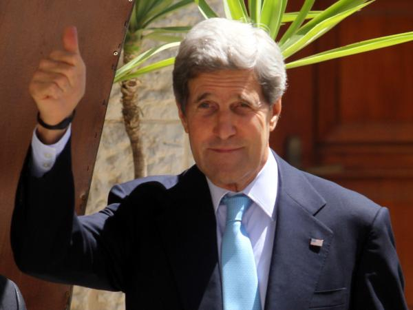 Secretary of State John Kerry on Sunday in the West Bank city of Ramallah.