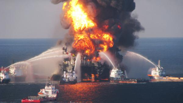 The Deepwater Horizon oil rig burned on April 21, 2010.