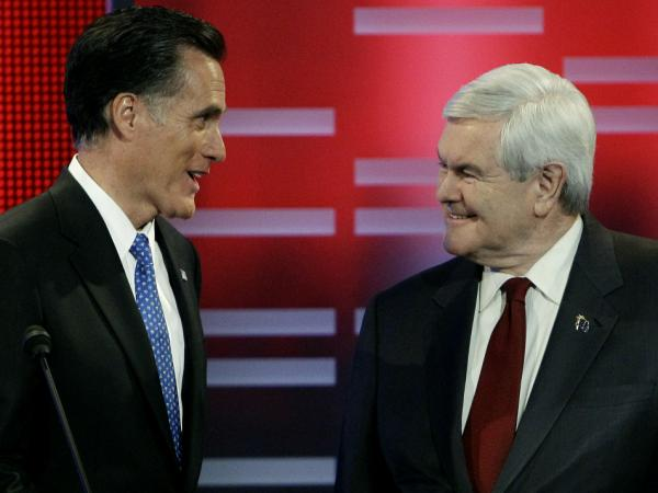 Republican presidential candidates former Massachusetts Gov. Mitt Romney and former House Speaker Newt Gingrich squared off in the ABC debate in Des Moines, Iowa, Saturday night.