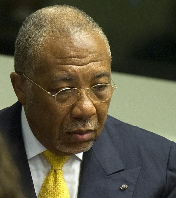 Former Liberian President Charles Taylor during his sentencing today in The Hague.