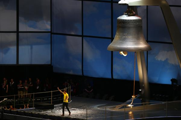 Britain's Bradley Wiggins, who won the Tour de France this year, on stage during the ceremony. The cyclist rang the 23-ton Olympic bell, which was manufactured by the same company that made Big Ben.