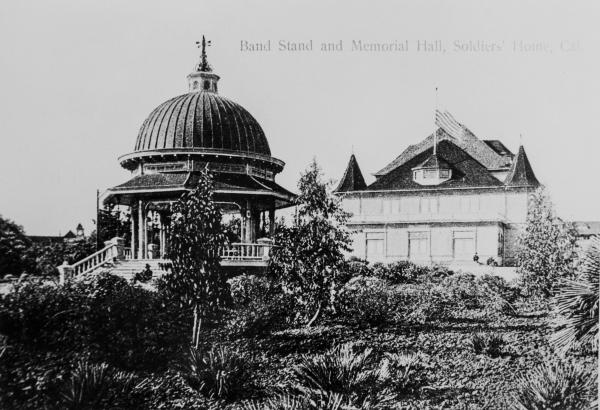 The Band Stand and Memorial Hall, circa 1900.